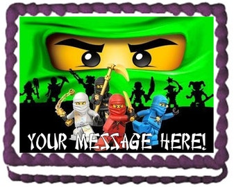 Green Ninjago Ninjas Edible Cake Topper Image Frosting Sheet Ninjago Quarter Sheet Cake Image Ninjago Edible Image Ninjago Party Supplies