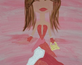 Pretty in pink mixed media acrylic art