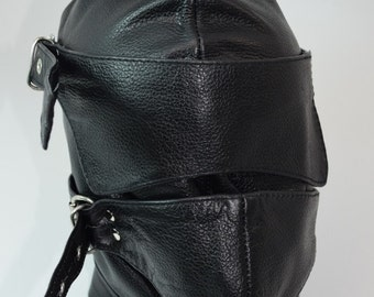 Genuine Leather Sensory Deprivation Hood w/ Attached Blindfold and Gag