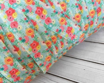 "AQUA and PINK SPRING Blooms 5/8"" Fold Over Elastic - 1, 3 or 5 Yards"