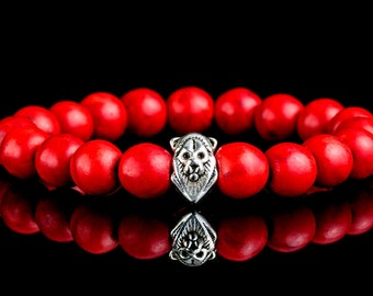 10MM Red Coral Bead with 925 Silver Lion Head Bead Bracelet.