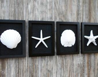 Cottage Chic Set of Beach Decor, Coastal Decor, Nautical Decor, Black Minimalist, Beach Wall Art, Coastal Decor, Black and White Wall Art