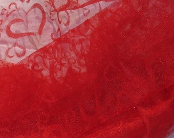 Scarlet Red Hearts on tulle Valentine gift