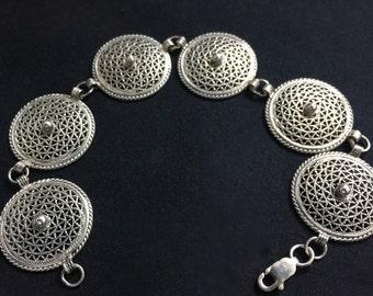 Vintage Sterling Silver Ornate Disc Bracelet