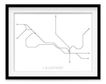 Lausanne Subway Map Print - Lausanne Metro Map Poster