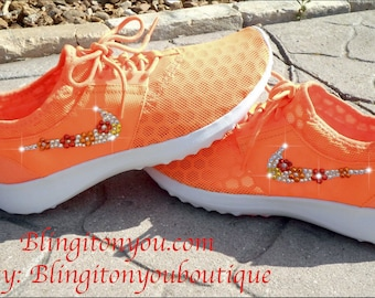 Flower floral nike bling shoes orange juvenate Just IN Gorgeous NIKE Juvenate women running shoes comfortable bling swarovski adorable shoes