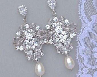 Crystal Chandelier Earrings, Vintage Wedding, Crystal Bridal Jewelry, Wedding Jewelry, Crystal Chandelier Bridal Earrings, Wedding Jewelry