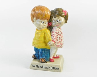 1970 Russ Berrie Figurine - We Need Each Other - Loving Looks Boy Girl - Cute 1970s Decor