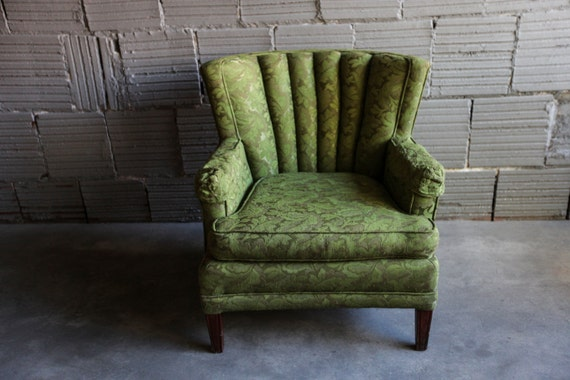 Vintage Floral Green Chair