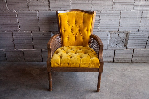 Vintage Yellow Gold Velvet Hollywood Regency Cain Tufted Side Chair