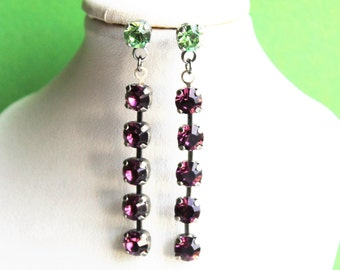 Silver Drop-Dangle Post-Stud Multi-coloured Earrings made with Swarovski Crystal Elements by Lady C