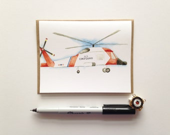 Greeting Card // USCG MH60 Jayhawk Card // Coast Guard Helicopter // Aviation // Military Cards // Semper Paratus