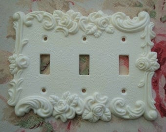 Roses & Flourish Single Triple Toggle Wall Plate Resin French Country Chic Circa 1967