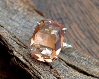 PEACH Morganite Ring, 925 Sterling Silver Ring, Morganite Quartz Ring, Designer Statement Ring , Morganite Prong Set Ring, Yellow Gold Ring