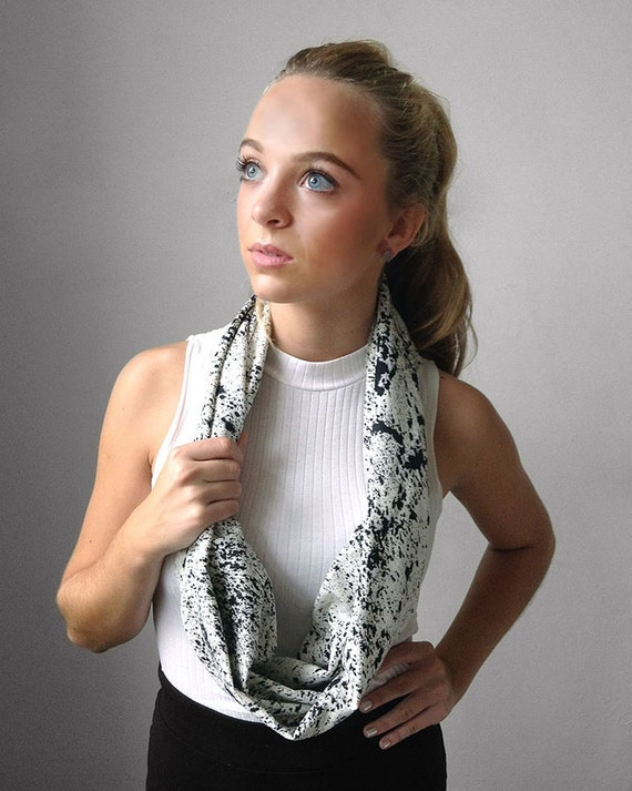 SALE! White and Black Infinity SHORT Raw Silk Scarf.