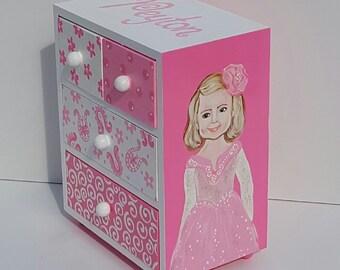 Potrait Personalized  Jewelry Box Pink Princess  Jewelry Box Baby Girl Baby Shower Birthday Christmas First Communion