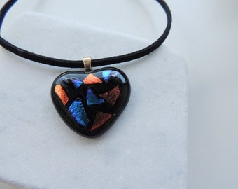 Fused glass heart pendant necklace,blue red dichroic heart necklace