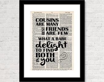 Gift For Cousins - Cousins are Many Best Friends Are Few - Cousin Best Friend Gift  - Dictionary Page Art - Affordable Cousin Gift
