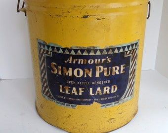 Antique Large Lard Can. Armour Simon Pure Leaf Lard 50 lb Can
