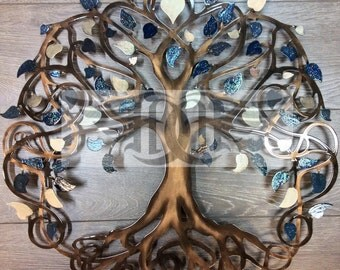 Thank You Gift Tree of Life Infinity Tree Wall Decor Wall Art (Blueberries and Cream)