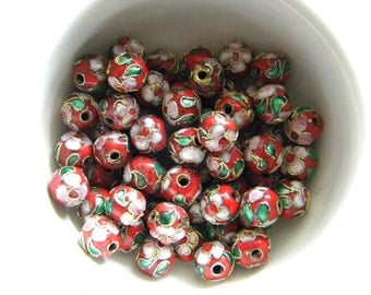 10 Red Cloisonné Beads - 8mm