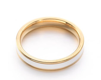 Narrow stainless steel white enamel ring in gold