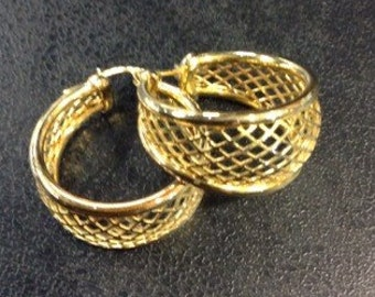 9ct gold mesh creole hoops
