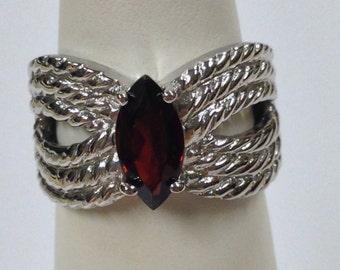 Natural Garnet Ring 925 Sterling Silver