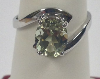 Natural Green Amethyst Ring 925 Sterling Silver
