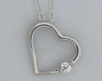 Heart Necklace with Cubic Zirconia 925 Sterling Silver