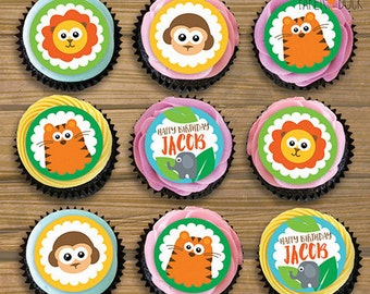 "15 X Personalised SAFARI JUNGLE ANIMALS Edible Icing Pre-Cut Cupcake Toppers 2"" Children's Birthday Party Elephant Lion Tiger Monkey"