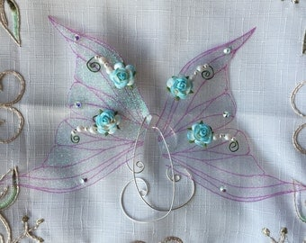 Pair of Mermaid & Sea Fairy Fin Wings Ear Cuffs ~ Magical Ear Wings ~ Irridescent Pink/Purple/Blue with Swarovski Crystals and Pearls