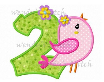 Number two flower nd birthday applique machine embroidery design
