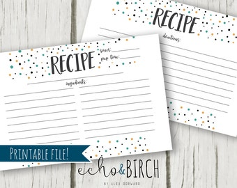 PRINTABLE 4x6 Recipe Cards - Polka Dot Pattern   Double Sided   Instant Download   Printable Stationery & Planner Supplies