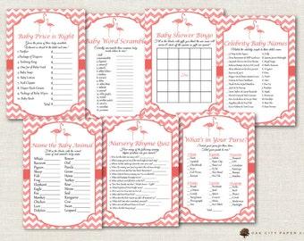 Flamingo Baby Shower Games - Flamingo Shower Games, Pink Flamingo Baby Shower Games, Pink Baby Shower Games, Girl Baby Shower Games, DIY