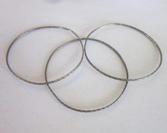 Lot of 3 Vintage Sterling Silver Bangle Bracelets