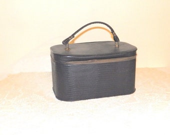 Vintage Faux Alligator Black Makeup Case Jolin Mfg Co