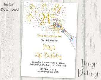 21st Birthday Invitations Template   Printable Gold Champagne Twenty First Word  Invitation Templates   Edit U0026  Birthday Invitation Word Template