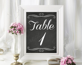 Chalkboard Printable Table Numbers 1-20, Table Number Printable, Wedding Printable, Reception Printable, INSTANT DOWNLOAD