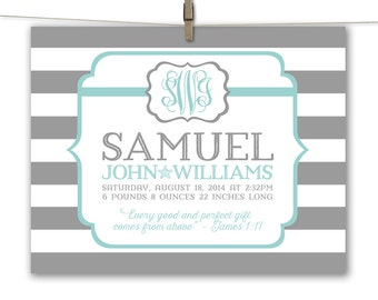 baby birth stat wall art print or canvas, personalized baby boy gift nursery decor, new baby boy gift birth details, custom colors