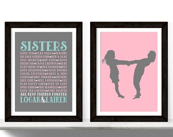 twin girls room decor - sisters wall art for 2 girls - pink and purple bedroom art - sisters together - 2 print set