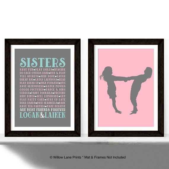 Items Similar To Twin Girls Room Decor Sisters Wall Art