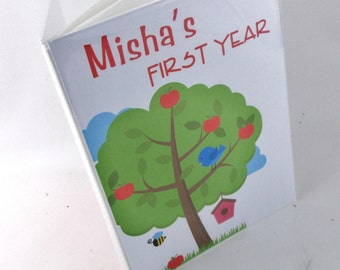 Baby Photo Album 4x6 or 5x7 picture First Year 1st Memories- picture book- boy or girl apple tree 348