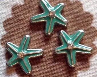 Starfish floating locket charm