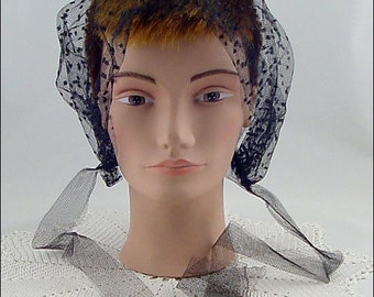 Vintage Black Netting Hair Bonnet Hair Covering (Inventory #HAT310)