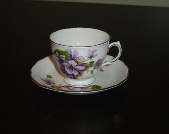 Royal Vale 2231 purple Violets cup and saucer (178B)