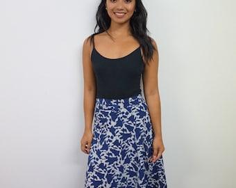 Indigo hand blocked Wrap skirt on organic cotton,Handmade wrap skirt,Boho wrap skirt,Long wrap skirt