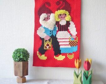 Scandinavian Embroidered Christmas Decor with Gnomes Gnome Tomte Swedish Handmade Wall Hanging @213