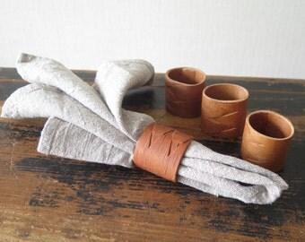 Set of 4 Birch Bark Napkin Holders Handmade Vintage Eco Friendly Rustic Home Serving Accessories @203