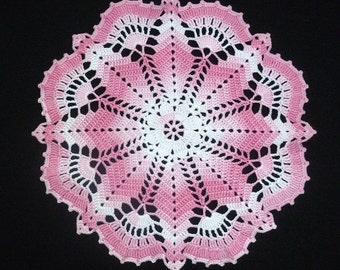 crochet doily, 12,6 inches, round doily, lace doily, crochet tablecloth, white pink